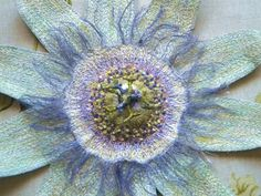 Textile Art, Textile sculpture, stumpwork, Passion Flower, by Corinne Young Ribbon Embroidery, Embroidery Art, Machine Embroidery, Embroidery Designs, Tambour Embroidery, Thread Art, Thread Painting, Silk Painting, Textile Sculpture
