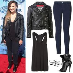 Demi Lovato arrives at the American Idol XIII finale wearing a T by Alexander Wang Classic Jersey Racer-Back Tank ($75.00), the Acne Studios Mock Stud Jacket ($2,169), J Brand Nightfall Eyelet Skinny Jeans ($410.00) and a pair of Giuseppe Zanotti Leather Biker Open Toe Boots ($1,365). You can find a similar tank at J. Crew ($29.50) and similar jeans at H&M ($29.95).