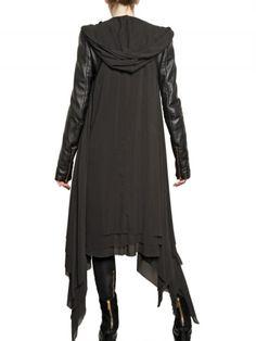 grayskiesfashion: Gareth Pugh - Black Leather Sleeves Silk Chiffon Coat