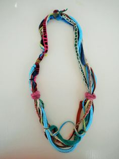 Boho Spring necklace-statement fabric and leather necklace-multistrand colorful necklace-Spring trend woman accessory by Jiakuma