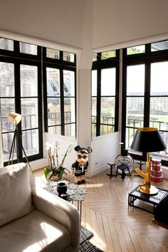 Would LOVE to have that Chanel Bearbrick! Interior designer Sarah Lavoine's Paris apt.