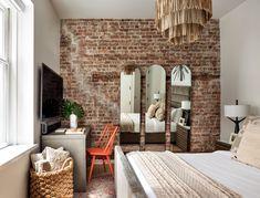 One Bedroom Apartment, Studio Apartment, Apartment Living, Living Room Windows, West Village, Custom Cabinetry, Exposed Brick, Dream Bedroom, House Tours