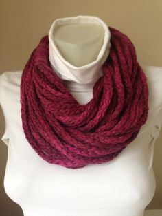 Knitted Scarf in Purple Scarf for by Yellowcrochet on Etsy