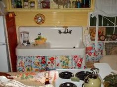 Image result for skirted kitchen cabinets