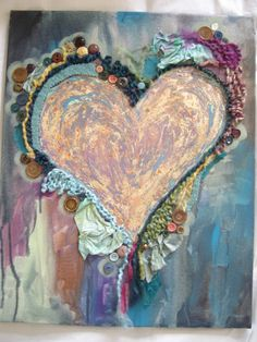 Gypsy Heart - buttons, crochet, fabric, and paint. by tylerja (JAT*ART on Etsy). I Love Heart, With All My Heart, Happy Heart, Heart In Nature, Heart Art, Heart Collage, Photo Zen, Rose Shabby Chic, Ecole Art
