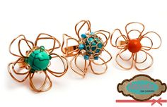 Código: anillo-0001  Anillos elaborados con oro laminado con piedras de diferentes colores: turquesa, aguamarina y naranja. #rings