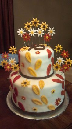 70th birthday fall colors cake