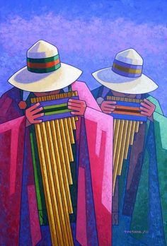Andean music is from Peru, Chile, Bolivia and Ecuador and is similar to music . Arte Latina, Peruvian Art, Art And Illustration, Illustrations, Latino Art, Spanish Art, Southwest Art, Arte Popular, Indigenous Art