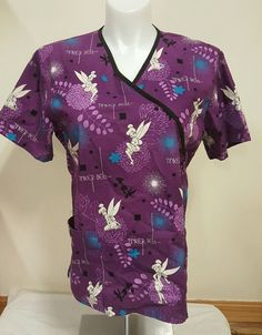 Disney Tinkerbell Scrub Top Short Sleeve Mock Wrap Tie Back Purple Size Large L | eBay