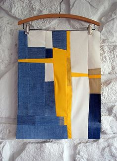Gee's Bend quilt pattern; recycled denim, cordurory, cottons, ~20 x 15inches