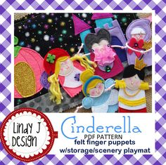Cinderella Felt Finger Puppets PDF pattern by LindyJDesign, $6.00 5 adorable FELT finger puppets provide a delightful way to recreate the favorite story of Cinderella! They are FUN to MAKE! And the BEST part…they are stored in a fabric roll-up case that is ALSO the SCENERY for this classic story! Finger Puppets! Playmat! Storage Case!...a winning combination for your little ones!