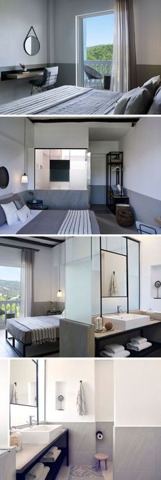 This modern hotel room has white walls with a lower grey stripe, decorative floor tiles, wall decor and glass room dividers separating the bathroom from the bedroom to create a Mediterranean style interior.