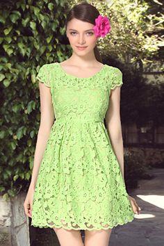 ROMWE | Cut-out Lace Green Dress, The Latest Street Fashion