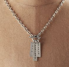 "Restoration Hardware personalized ""toggle"" necklace."