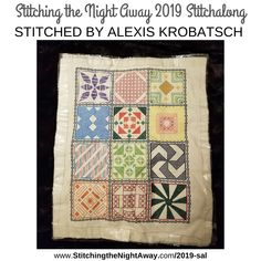 Stitching the Night Away 2019 Mystery Stitch-a-Long Sampler Pattern with Cross Stitch and Blackwork Cross Stitch Fabric, Cross Stitching, Cross Stitch Patterns, Loom Patterns, Create A Shopping List, Hello Kitty Wallpaper, Cute Owl, Free Pattern, Cat Pattern