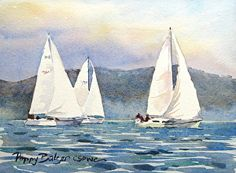 Three Sailboats by Poppy Balser Watercolor ~ 5 x 7