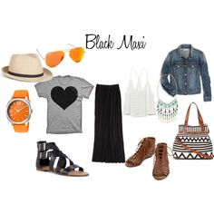 """""""How to style a black maxi"""" by thirtysomethingfashion on Polyvore"""