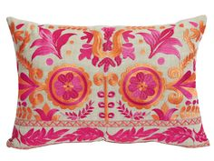 Lacefield Mulberry Floral Embroidery Lumbar