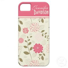 Girly Pink Ivory Tan Floral Monogram iPhone5 iPhone 5 Case. By dmboyce.