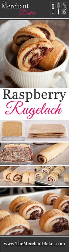 Raspberry Rugelach. A tender cream cheese and butter based cookie, made with whole wheat,  filled with raspberry jam, cinnamon sugar and chopped pecans. Great for breakfast, snack or dessert!