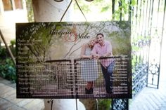Poster program with photo of bride and groom as wedding program in the ceremony space | villasiena.cc