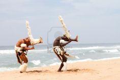 Zulu dancers on beach