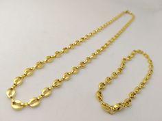 Collana Bracciale Oro Completo Maglia Marina Unisex Elegante Gioielli Di Vicky