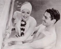 Clark Gable and Joan Crawford take a swim. Gable and Crawford were long time friends and lovers. They even lived openly together for a year Clark Gable, Golden Age Of Hollywood, Vintage Hollywood, Classic Hollywood, Hollywood Party, Hollywood Stars, George Hurrell, Joan Crawford, Carole Lombard
