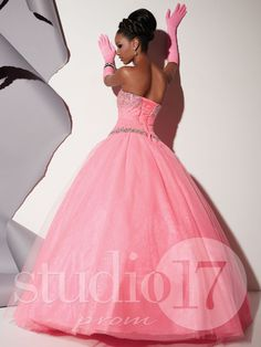 Studio 17 Style 12473: Strapless sweetheart neckline, glitter tulle pleated low torso bodice, heavy AB stone bodice and waist trim, full ball gown, lace-up back. #prom #prom2014 #pageant #dress #specialoccasion #formalwear #studio17 #houseofwu