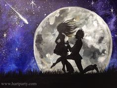 "Devoted Written in the stars https://www.youtube.com/watch?v=OXkAunyIEaI ""Devoted"" in acrylic.This is a Great Valentines,  marriage Proposal, or Couple in Love painting. This wonderful silhouette of a man proposing in front of a full moon, Night sky and shooting star. It has all of the feel of a romantic Destined in the stars Galaxy painting."