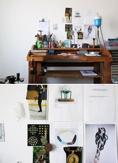 Katherine Bowman's workbench, handcrafted by a friend and wall detail. By Lucy Feagins.