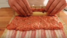 This Insane Bacon Sushi Is Every Carnivore's Dream Ground Beef Seasoning, Sushi Roll Recipes, Cheese Wrap, Roasted Onions, Bbq Bacon, Hamburger Meat Recipes, Sushi Rolls, Easy Healthy Breakfast, Sushi Recipes