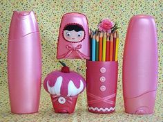 DIY shampoo bottle pencil holder and shampoo bottle pincushion.