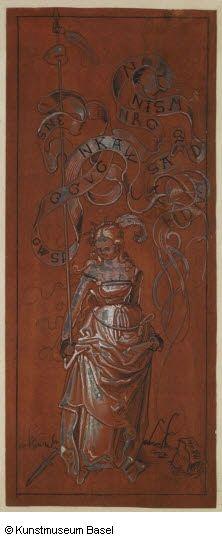 Niklaus Manuel gen. Deutsch Bern um 1484–1530 Bern Mädchen mit aufgespiesstem Herzen, um 1510      Feder in Schwarz, mit Feder und Pinsel weiss gehöht sowie rosarot und gelb getönt auf rostbraun grundiertem Papier