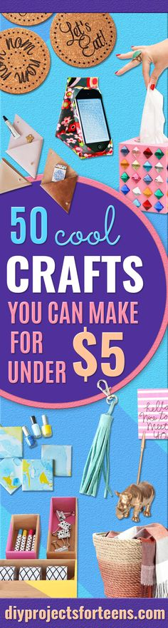 Cheap Crafts for Teens - Inexpensive DIY Projects for Teenagers and Tweens - Cute Room Decor, School Supplies, Accessories and Clothing You Can Make On A Budget - Fun Dollar Store Crafts - Cool DIY Gift Ideas for Christmas, Birthdays, BFF gifts and more - Step by Step Tutorials and Instructions http://diyprojectsforteens.com/cheap-craft-ideas-for-teens/