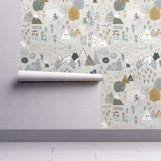Boy Adventure Nursery Wallpaper - Max's Map (grey) by Nouveau Bohemian - Spoonflower Custom Printed Removable Self Adhesive Wallpaper Roll