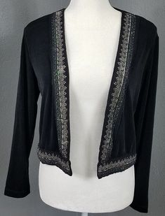 c6d9ac7496c1c Chico s Cardigan Sweater Size 0 S Black Beaded Open Front Travelers Knit  Silver  fashion
