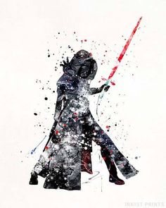 Kylo Ren, Star Wars Watercolor Wall Art Poster - Prices from $9.95 - Click Photo for Details - #starwars #christmasgift #giftfordad #starwarsfan #giftforson #KyloRen Star Wars Decor, Star Wars Art, Watercolor Disney, Watercolor Print, Watercolor Ideas, Star Wars Painting, Star Wars Wallpaper, Iphone Wallpaper, Iphone Backgrounds