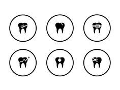 Icon set for Smiledives website by Ahmed Naxeem on Dribbble Tooth Icon, Icon Pack, Icon Set, Website, Icons