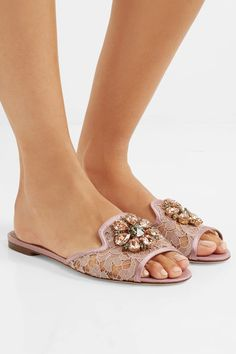 Dolce & Gabbana - Embellished Corded Lace And Lizard-effect Leather Slides - Antique rose - IT37