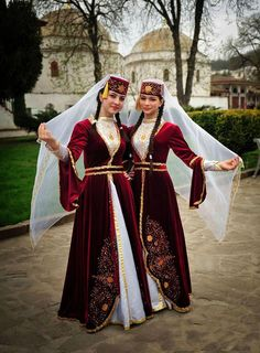 Girls from Bahcesaray in traditional dresses, Crimea-Peninsula.