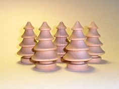 5 Trees Turned Wood Unfinished 2-3/4 Inch - 5 Pieces