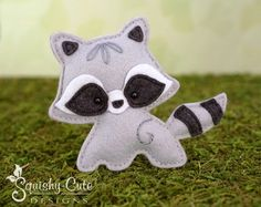 Raccoon Sewing Pattern PDF - Felt Baby Raccoon Ornament - Woodland Mobile Plushie Stuffed Animal - Roxy the Raccoon Baby - Instant Download by SquishyCuteDesigns on Etsy https://www.etsy.com/listing/241742232/raccoon-sewing-pattern-pdf-felt-baby