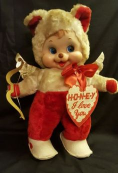 Vintage-Rushton-Company-Valentines-Cupid-Rubber-Faced-17-Bear