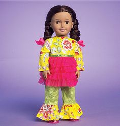 """Playclothes to sew for 18"""" dolls from McCall's. M7173, 18"""
