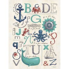 Oopsy Daisy Get swept away to sea with this fun nautical alphabet design by Sarah Lowe. This kid's canvas wall art is perfect for your beach themed nursery or child's room! Kids Wall Decor, Art Wall Kids, Art For Kids, Kids Canvas, Canvas Wall Art, Ocean Canvas, Ocean Art, Canvas Canvas, Nautical Nursery