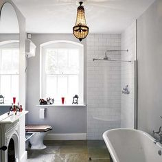 The fireplace. The shower. The toilet seat. The tub. All so #Swoon and #Drool.
