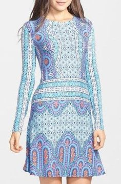 BCBGMAXAZRIA 'Jeanna' Print Jersey Fit & Flare Dress