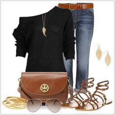 CHATA'S DAILY TIP: Black and tan is a universal combination that can be worn by everyone. A sexy off-the-shoulder top hides concerns around the arms, accentuates the shoulder area and eliminates problem areas around the tummy. Add fun accessories in warm tones of gold and you have a stunning day-look, for any occasion! COPY CREDIT: Chata Romano Image Consultant, Mart-Marie Fourie http://chataromano.com/consultant/mart-marie-fourie/ IMAGE CREDIT: Pinterest