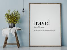 Travel: the only thing you buy that makes you richer.  This listing is for a DIGITAL FILE of this artwork. No physical item will be sent. You can print the file at home, at a local print shop or using an online service.   SAVE 30% when you buy 3 or more prints! Enter COUPON CODE: SAVE30   FILES INCLUDED  • 1 JPG 8x10 • 1 JPG 11x14 • 1 JPG 50x70 cm • 1 JPG 18x24 • 1 JPG International paper size for printing A5 / A4 / A3 / A2  Each file is high-resolution (300 dpi), which will get you very…